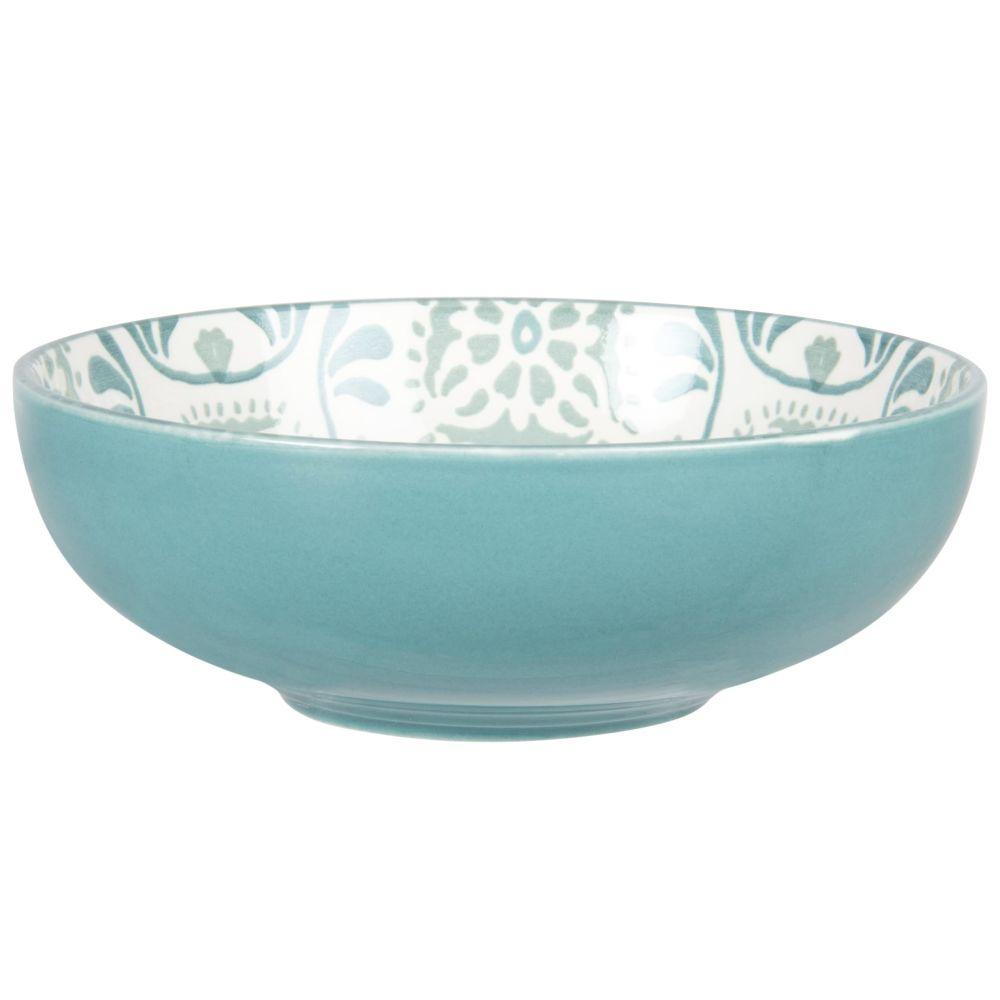 Assiette creuse en grès blanc à motifs bleus et gris