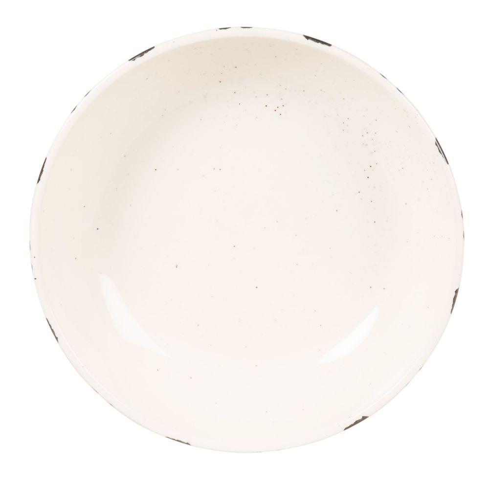 Assiette creuse en grès blanc motifs noirs