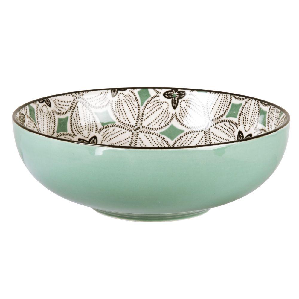 Assiette creuse en grès motifs graphiques bleu gris, verts et blancs