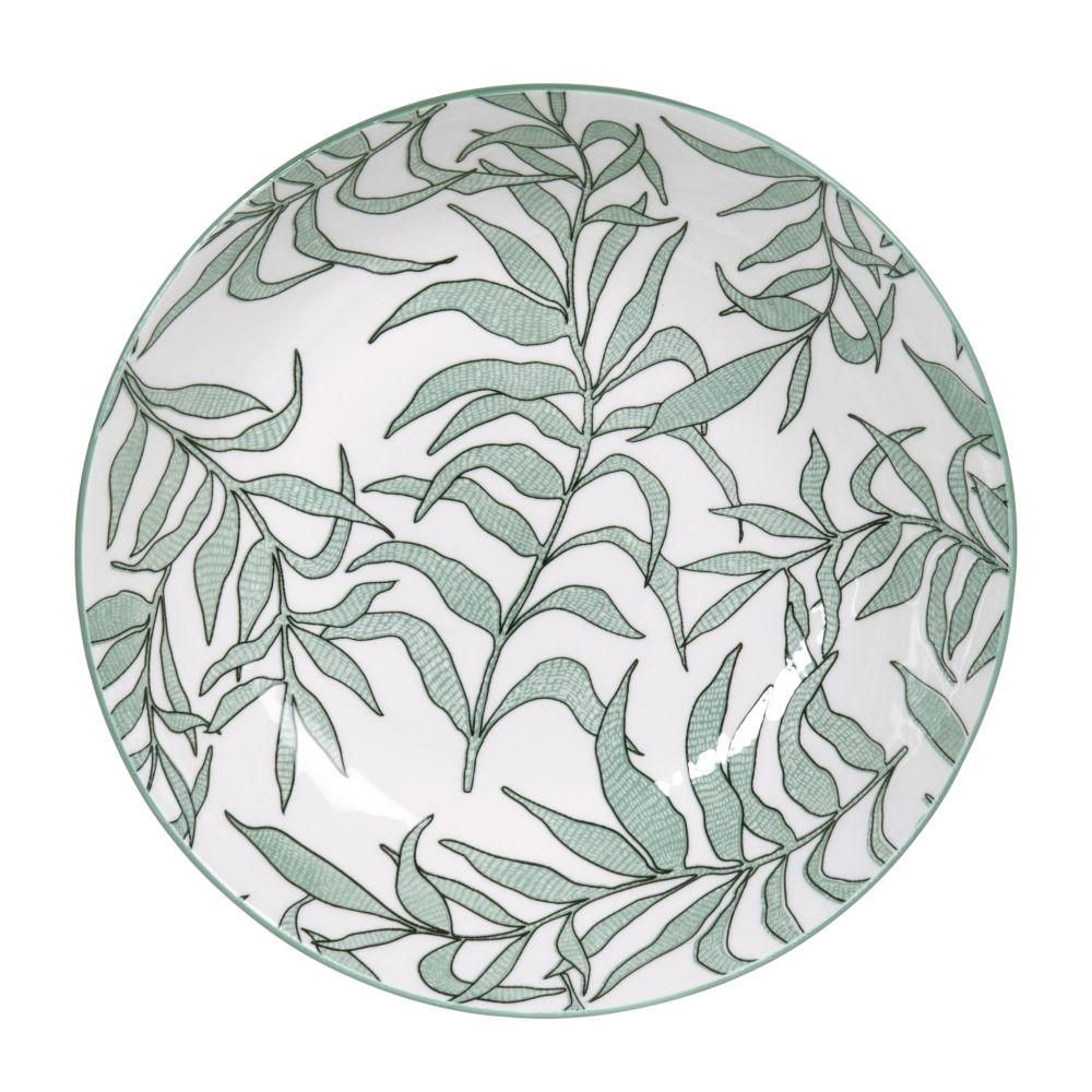 Assiette creuse en porcelaine blanche motif végétal vert
