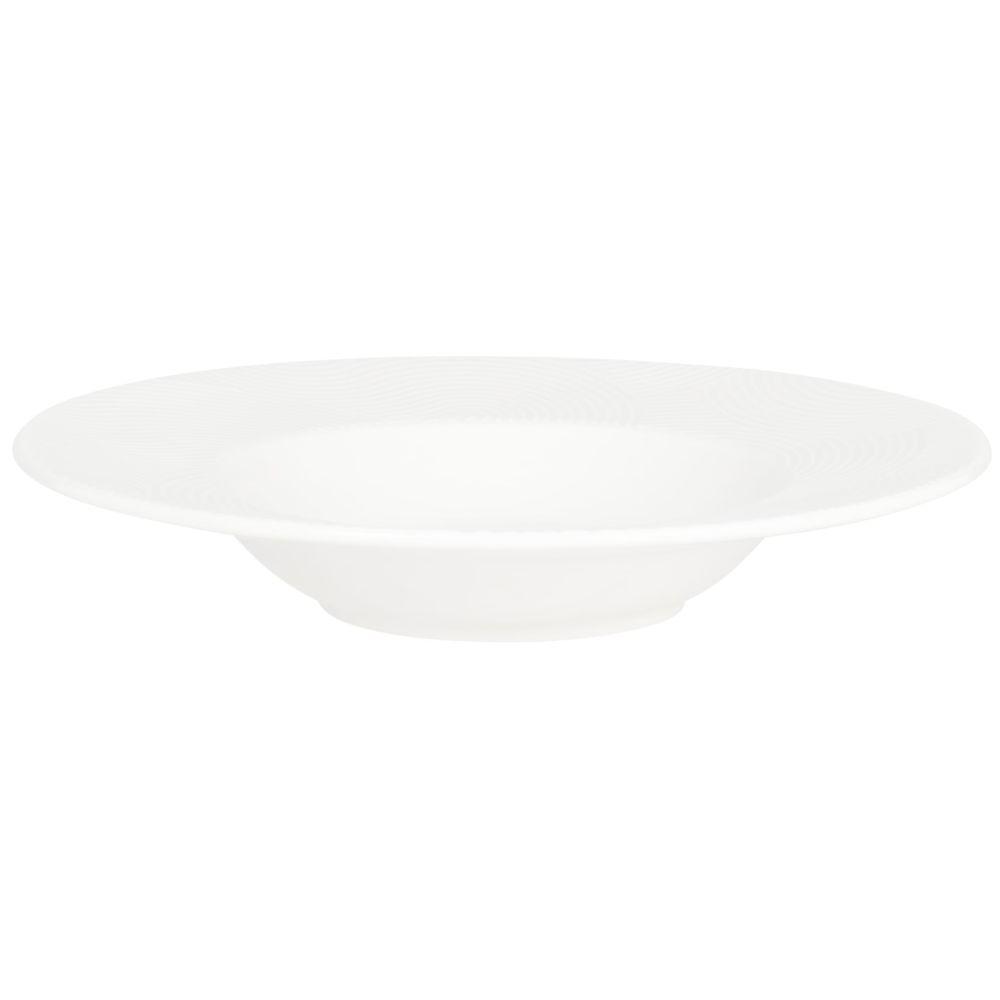 Assiette creuse en porcelaine blanche motifs graphiques dorés