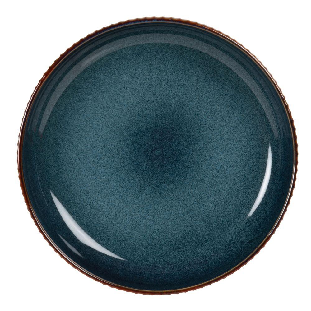 Assiette en grès bleu et marron