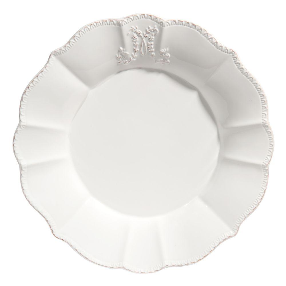 Assiette plate en faïence blanche