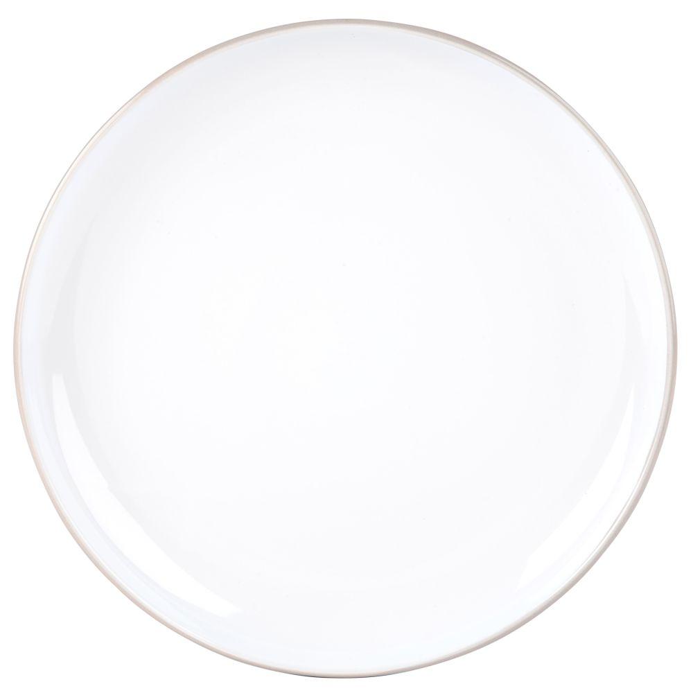 Assiette plate en faïence blanche et grise