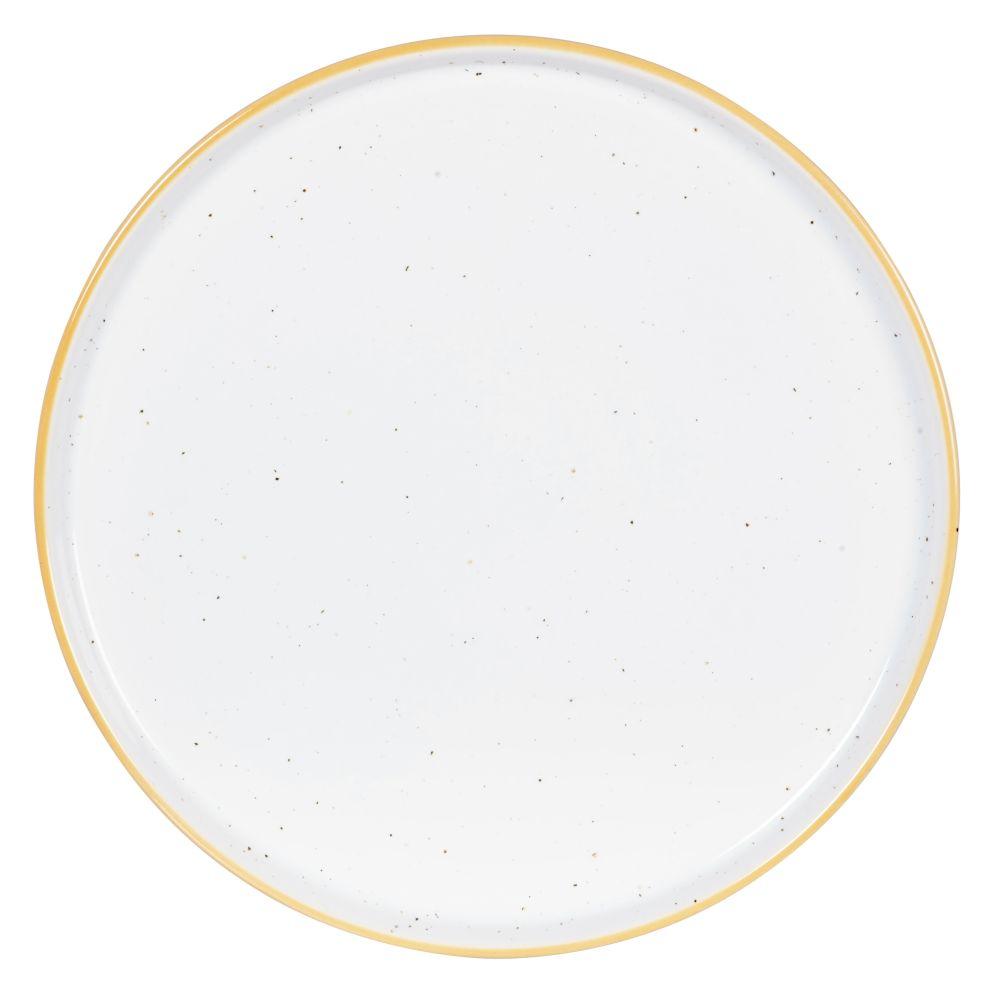 Assiette plate en faïence blanche et jaune