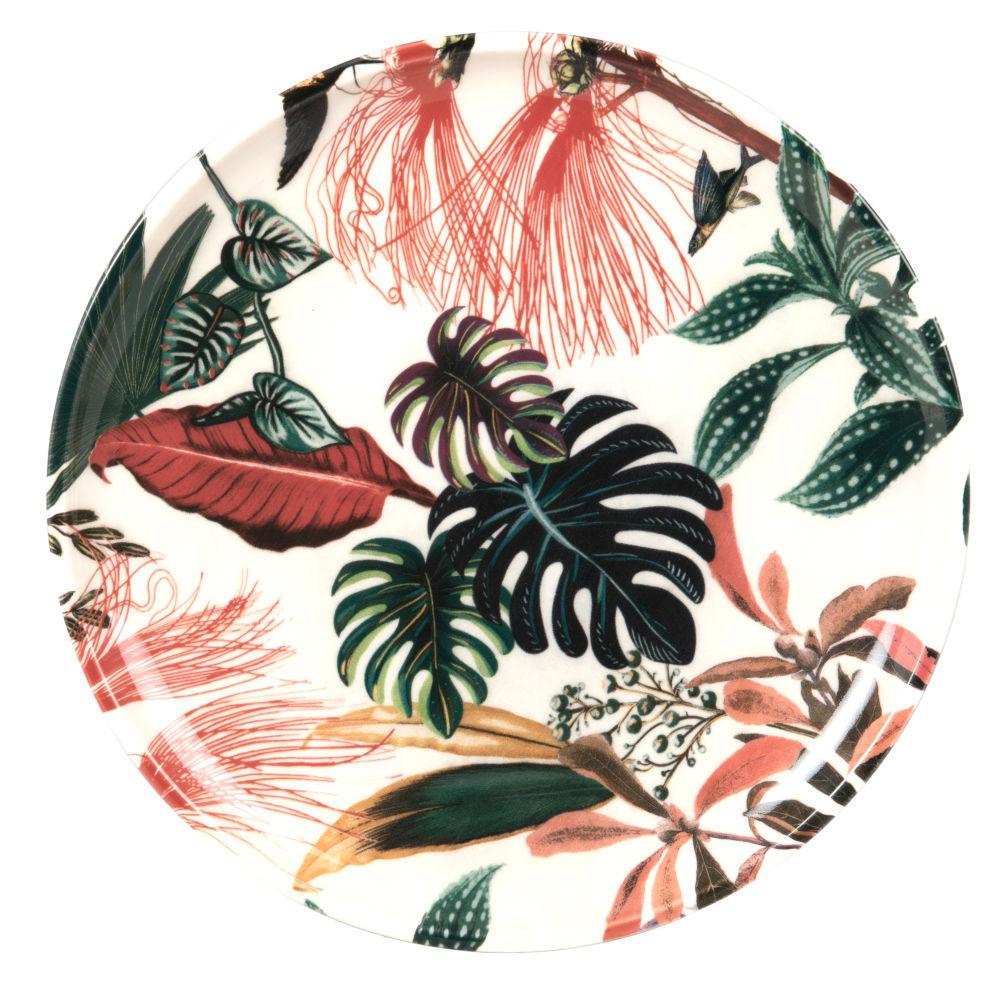 Assiette plate en faïence blanche motif végétal multicolore