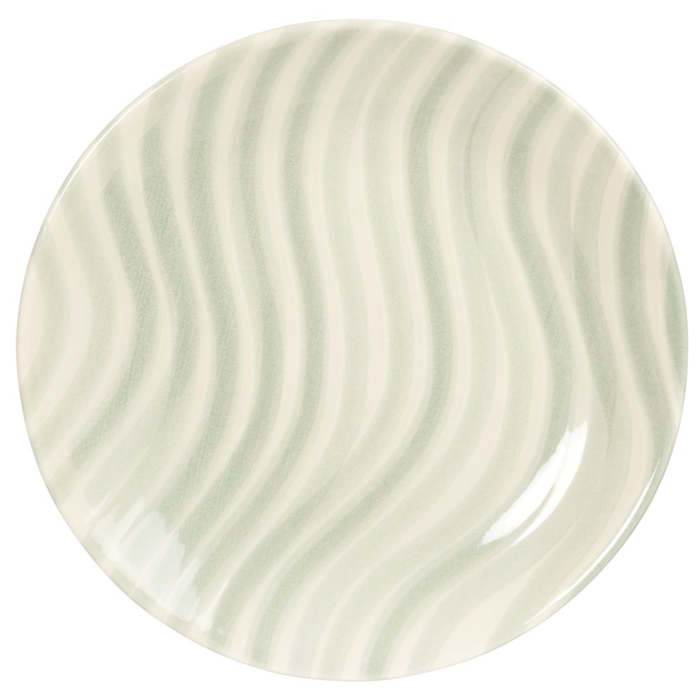 Assiette plate en faïence blanche motifs vagues bleu clair