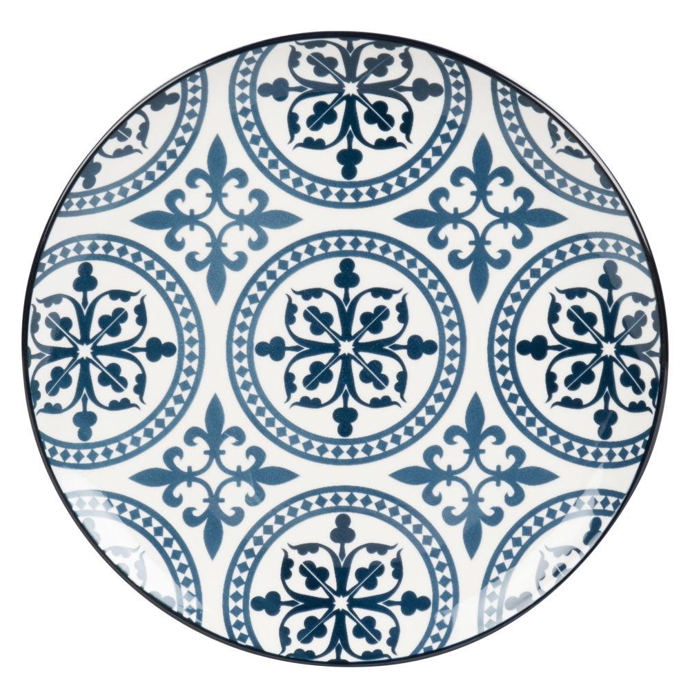 Assiette plate en faïence bleue et blanche motifs graphiques