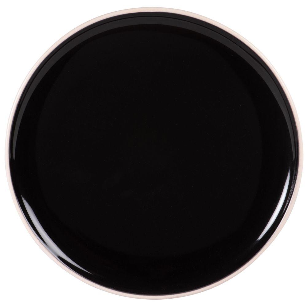 Assiette plate en faïence noire et blanche