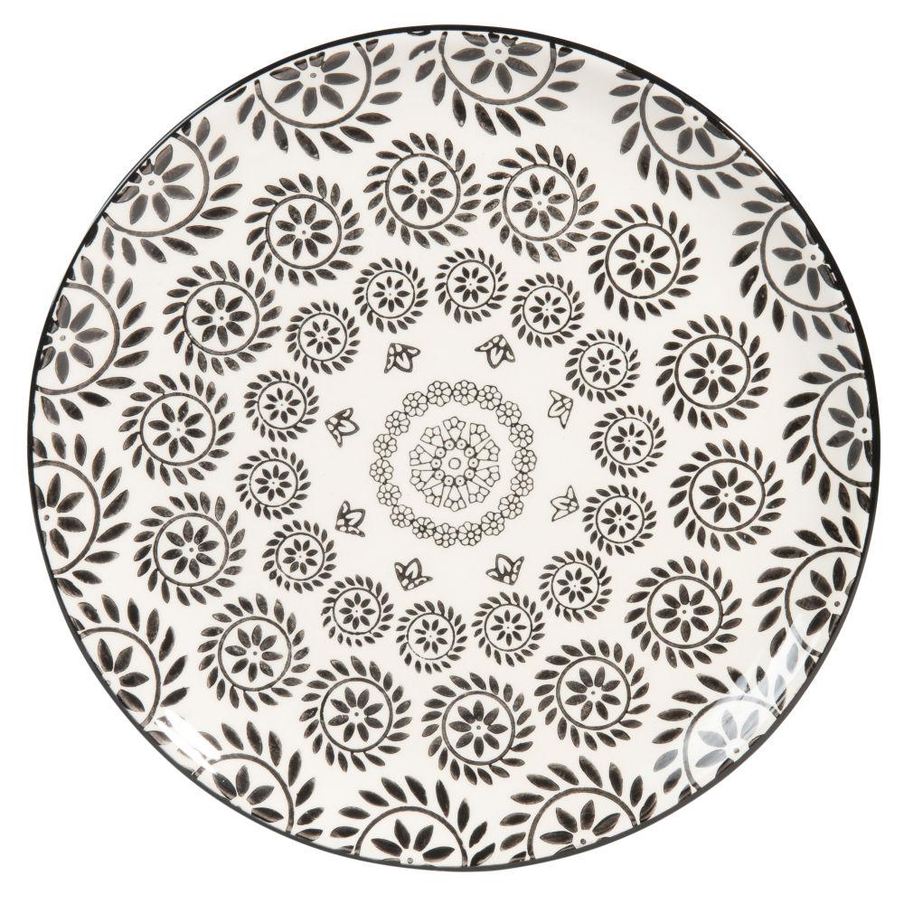 Assiette plate en faïence noire et blanche imprimée