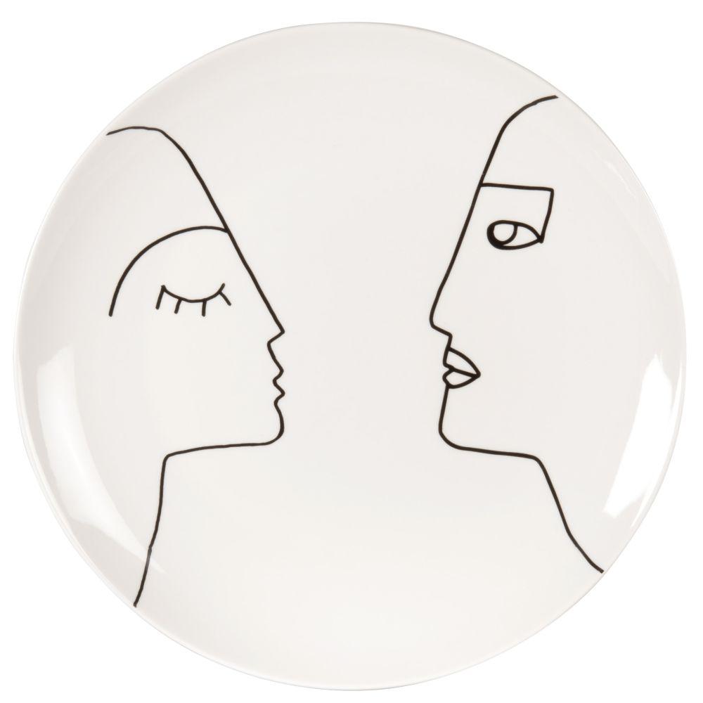 Assiette plate en grès beige et noir imprimé