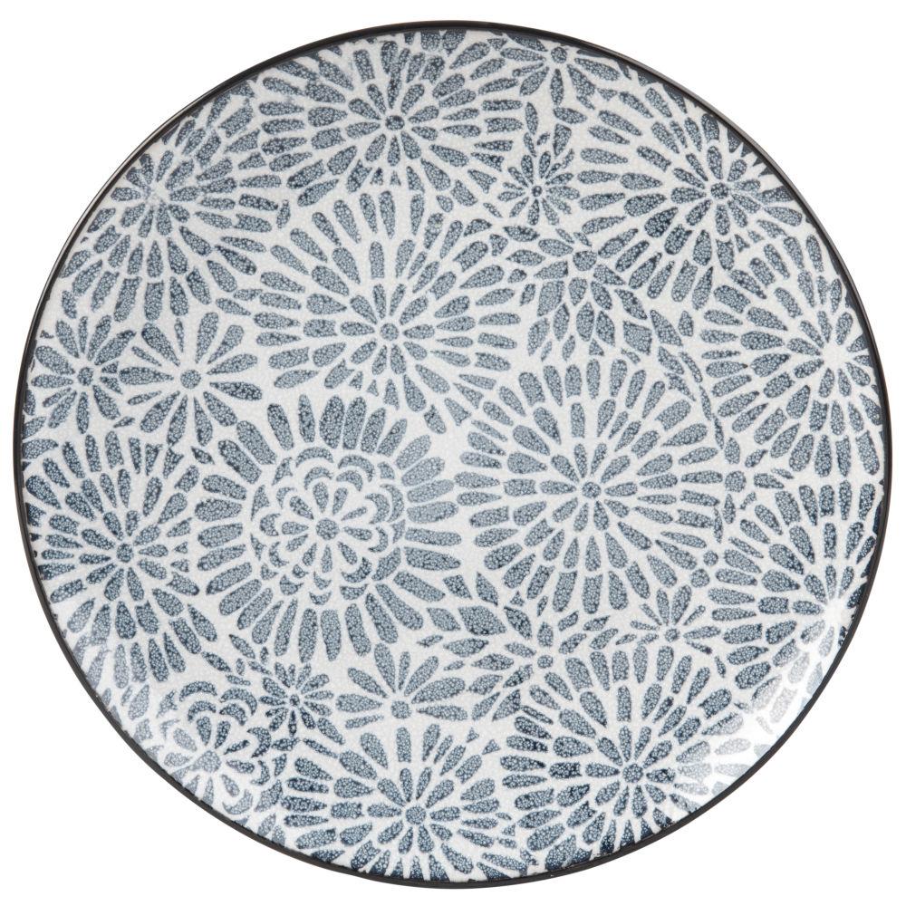Assiette plate en grès blanc motifs graphiques bleus