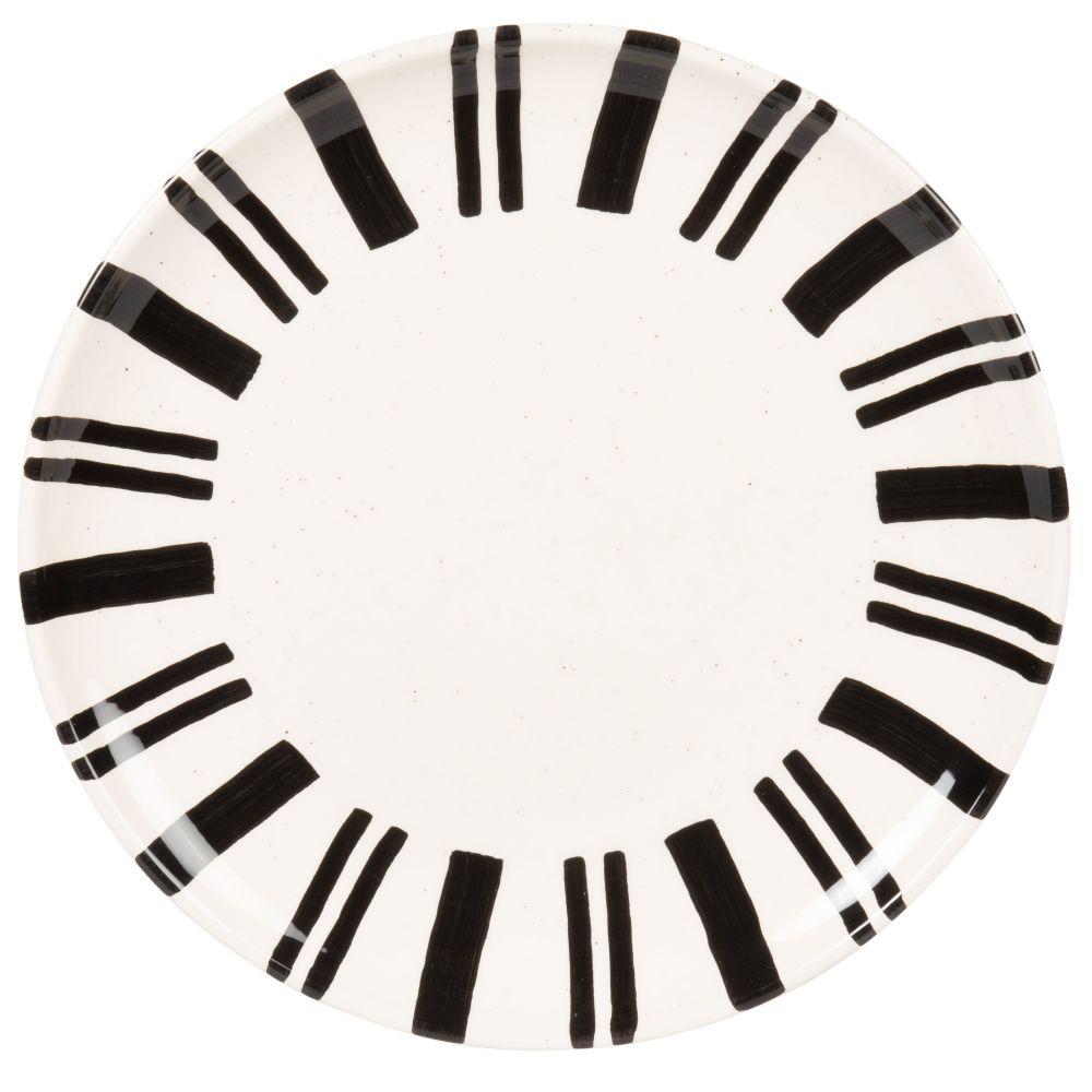 Assiette plate en grès blanc motifs noirs