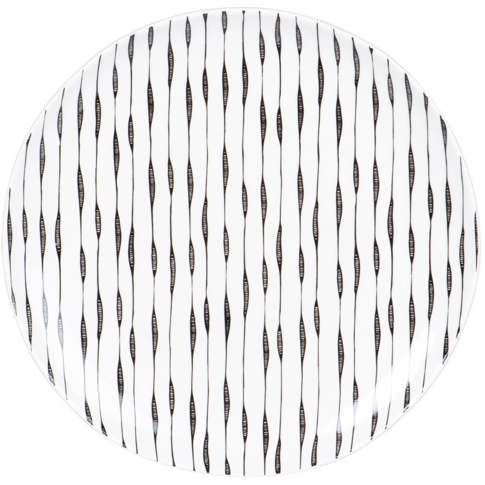 Assiette plate en grès blanc motifs traits noirs