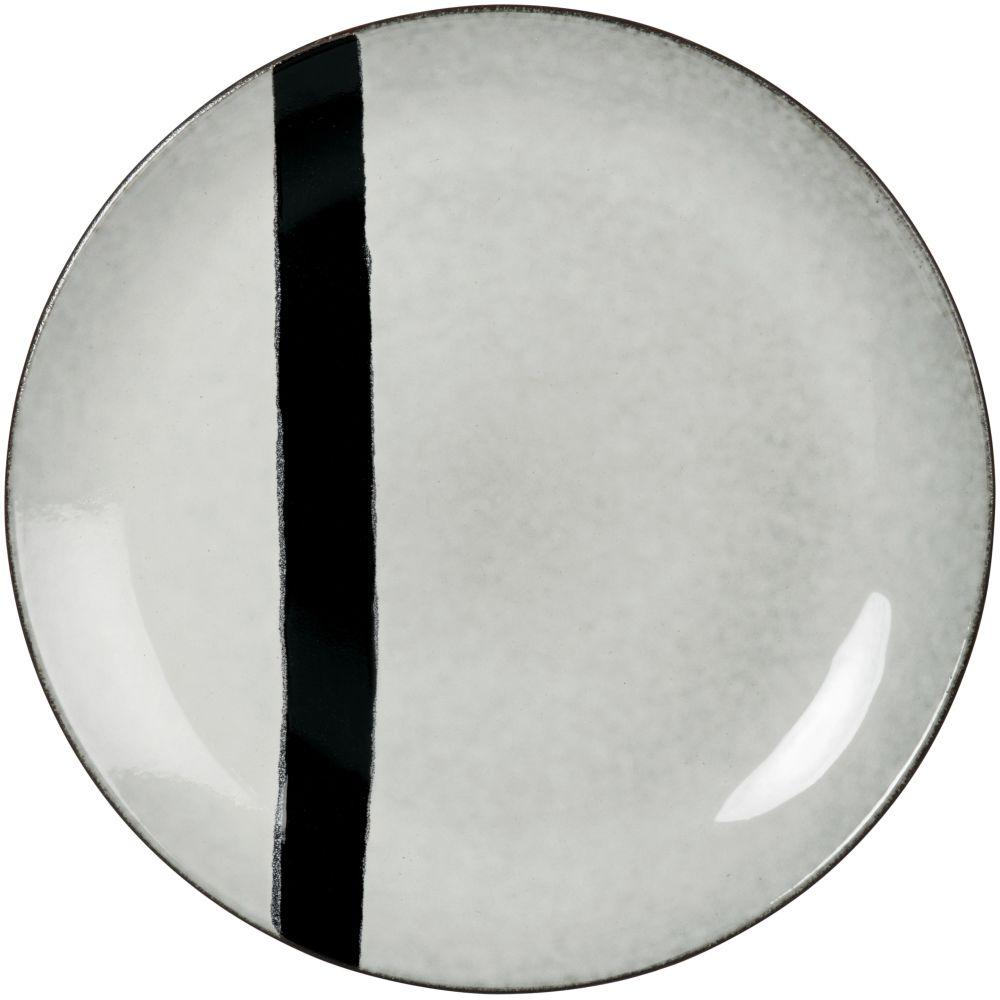 Assiette plate en grès gris et noir