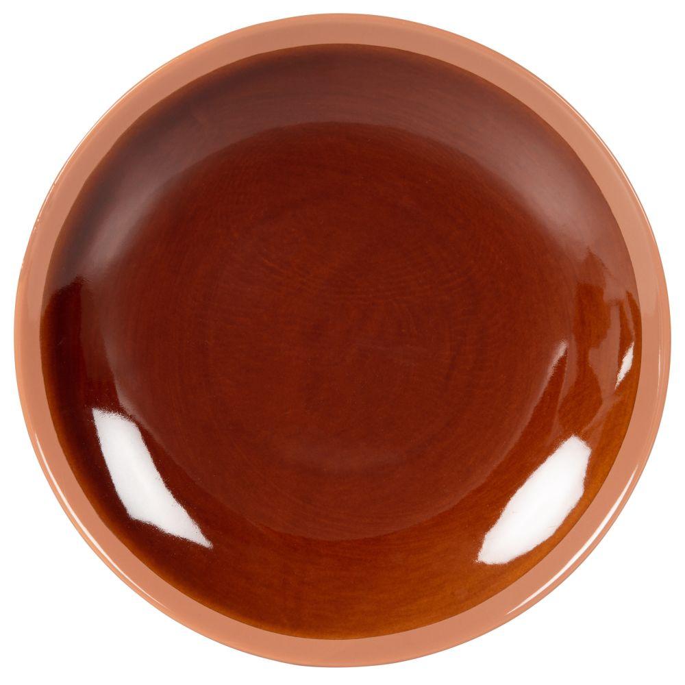 Assiette plate en grès marron brillant