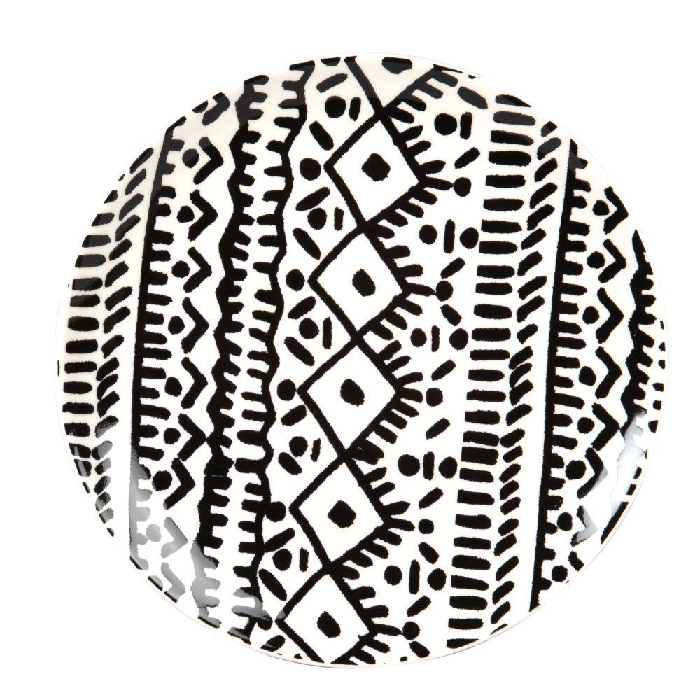 Assiette plate en grès noir et blanc à motifs
