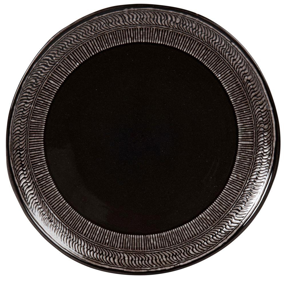 Assiette plate en grès noir et gris