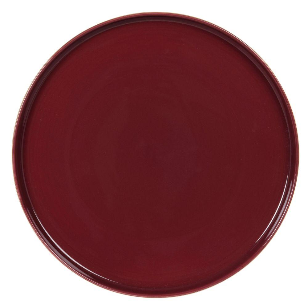 Assiette plate en porcelaine aubergine et dorée