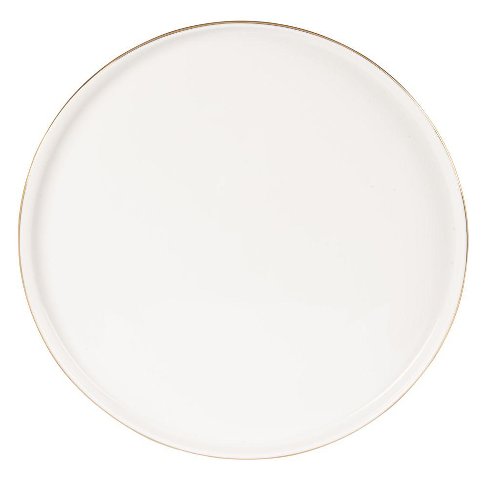 Assiette plate en porcelaine blanche et dorée