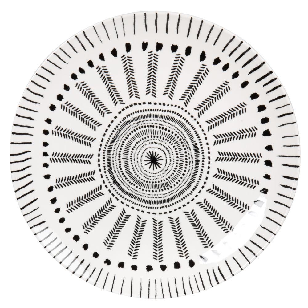 Assiette plate en porcelaine blanche et grise à motifs
