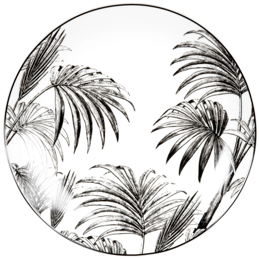 Assiette plate en porcelaine blanche et noire imprimé palmes