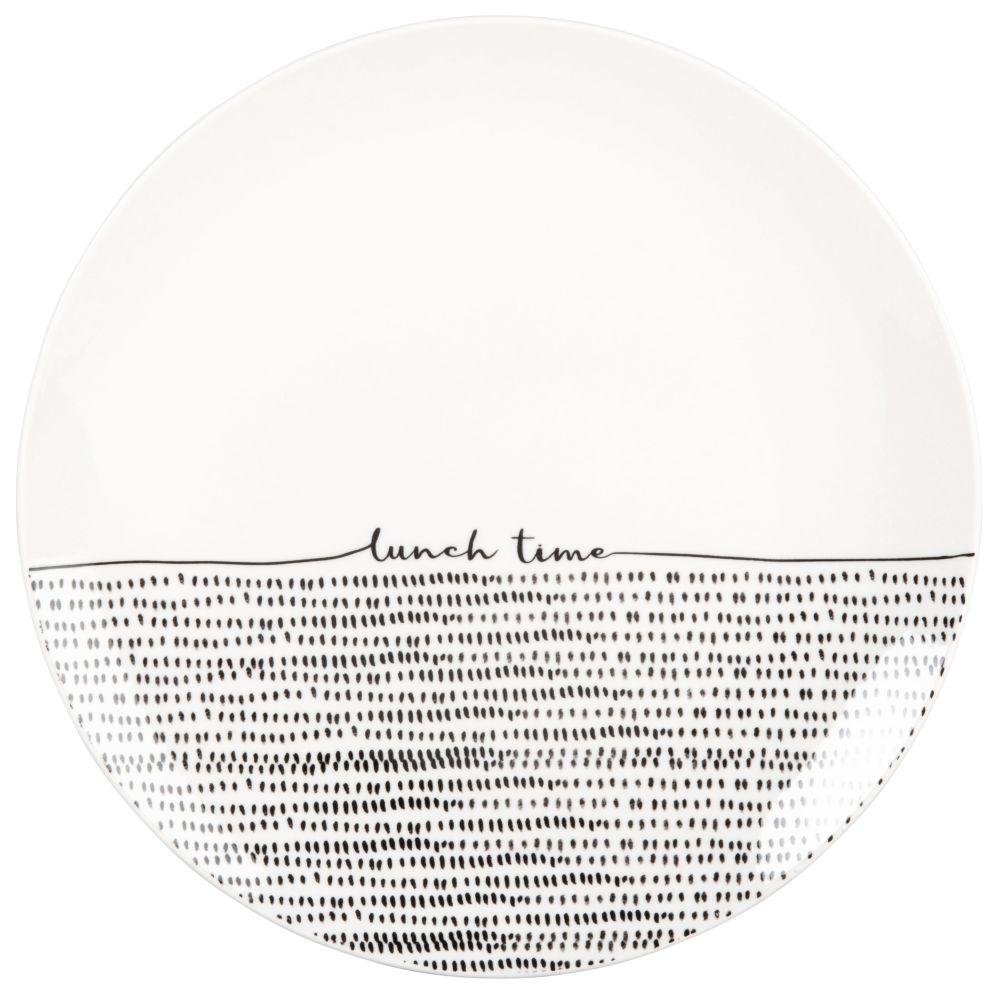 Assiette plate en porcelaine blanche et noire imprimée