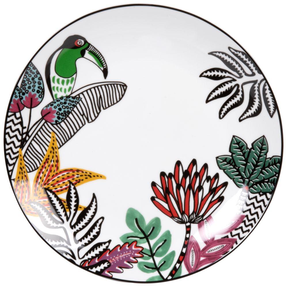Assiette plate en porcelaine blanche imprimé tropical et toucan multicolore
