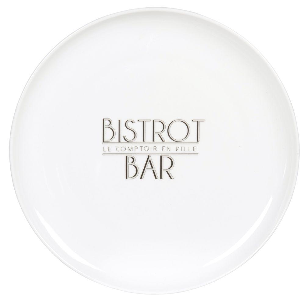 Assiette plate en porcelaine blanche imprimée