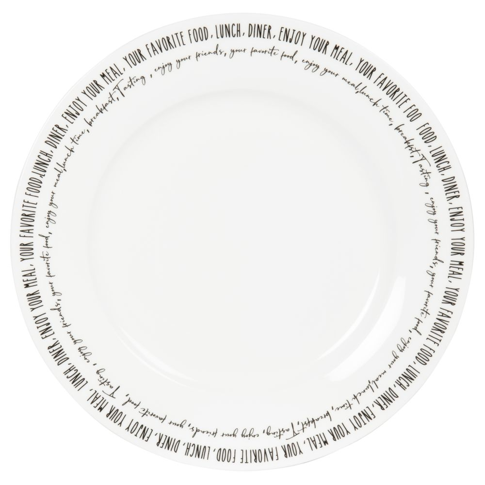 Assiette plate en porcelaine blanche inscriptions noires