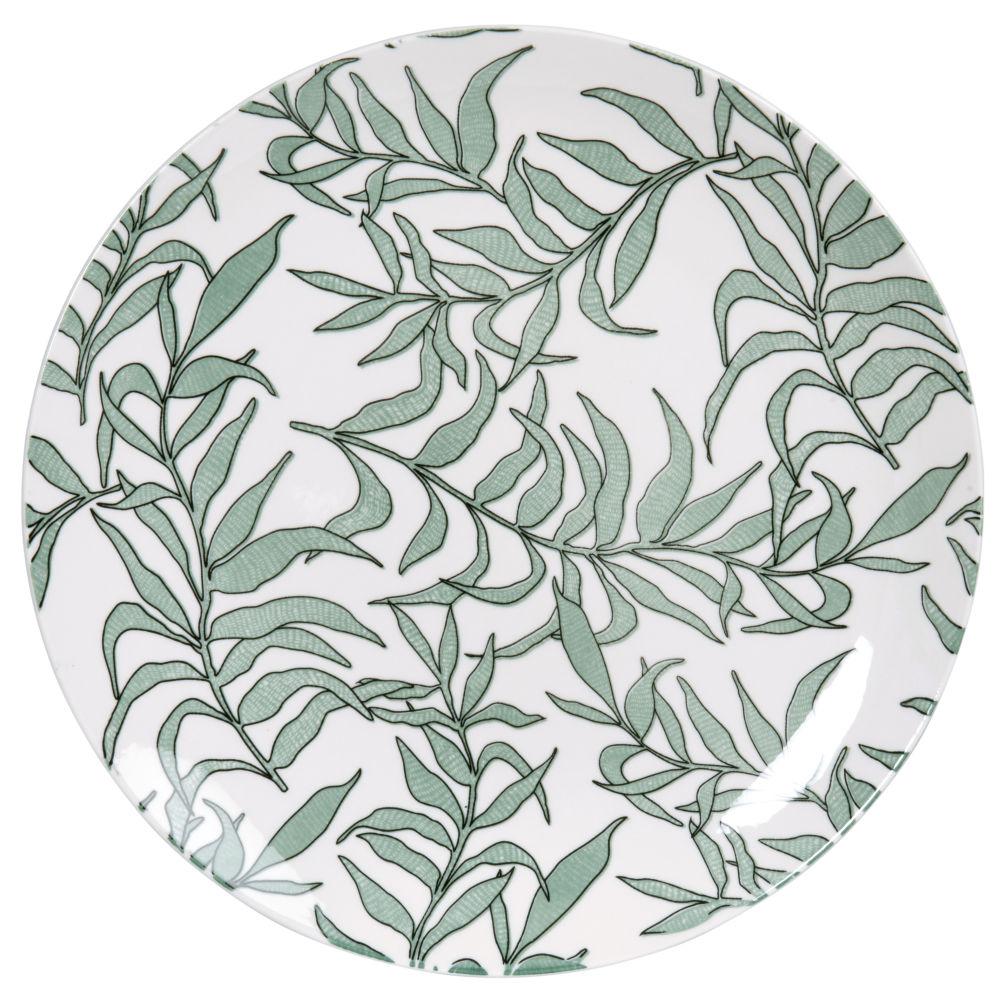 Assiette plate en porcelaine blanche motif végétal vert