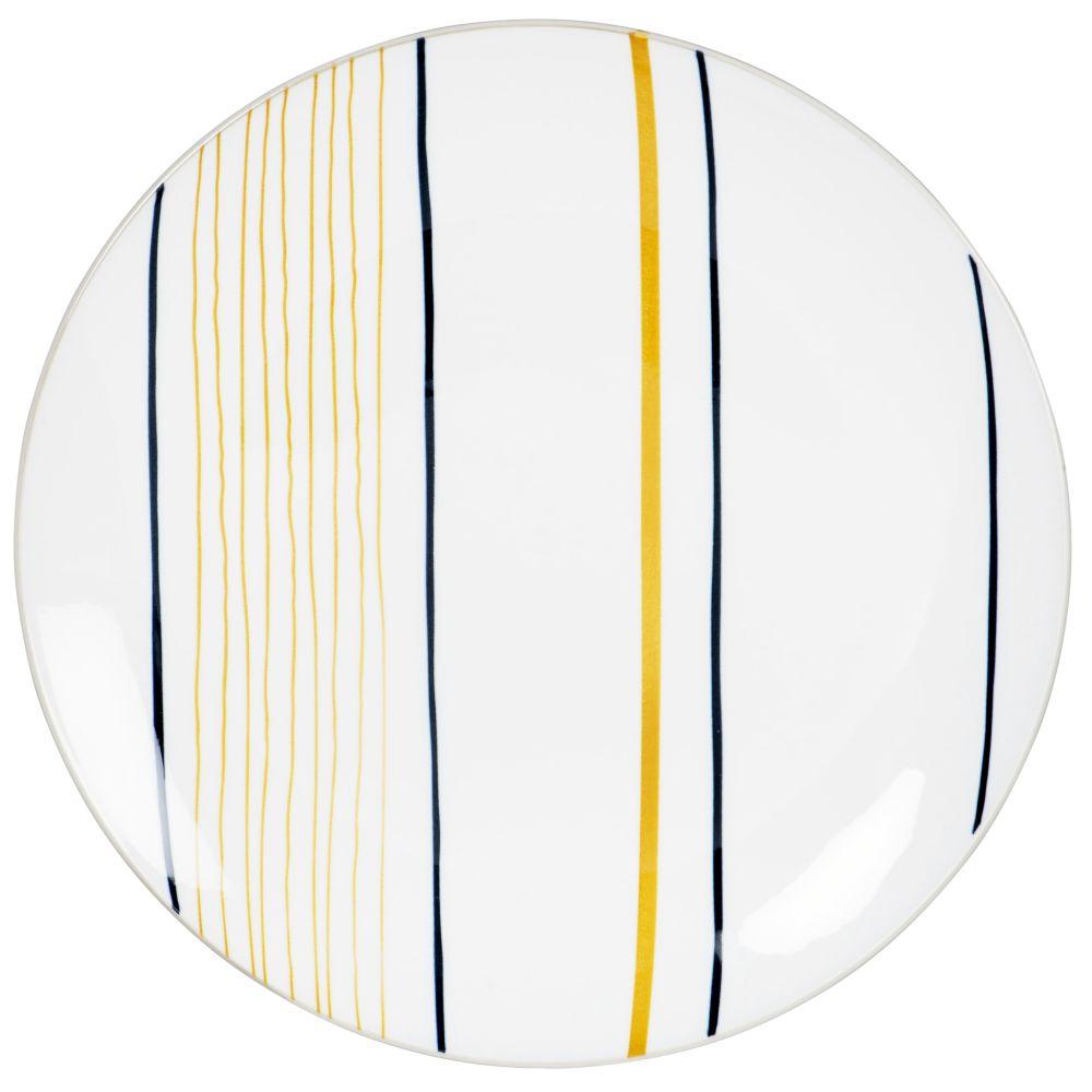 Assiette plate en porcelaine blanche motifs à rayures noires et moutarde