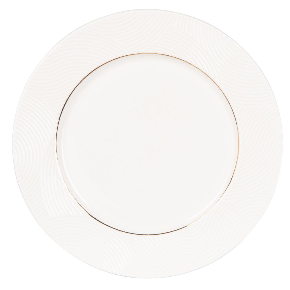 Assiette plate en porcelaine blanche motifs graphiques dorés
