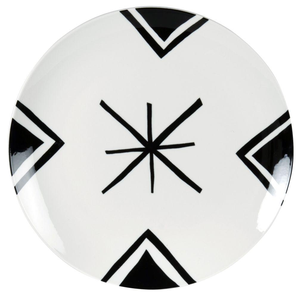 Assiette plate en porcelaine blanche motifs graphiques noirs