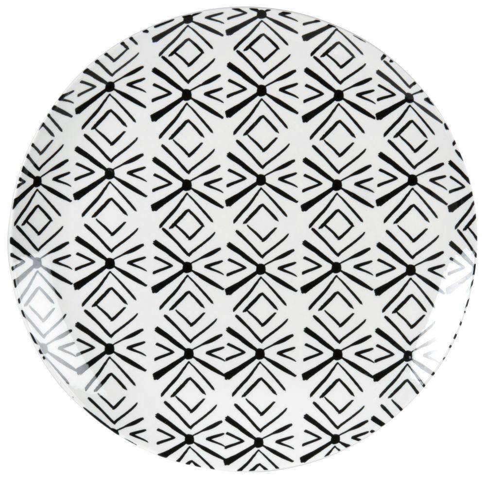 Assiette plate en porcelaine motifs graphiques blancs et noirs
