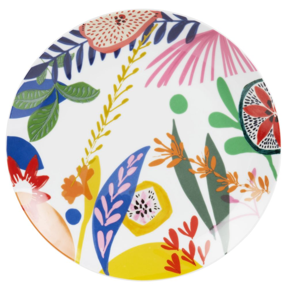 Assiette plate en porcelaine multicolore imprimée