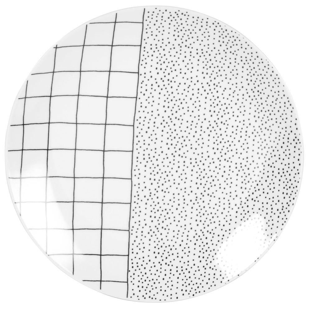 Assiette plate en porcelaine noire et blanche motifs pois et carreaux
