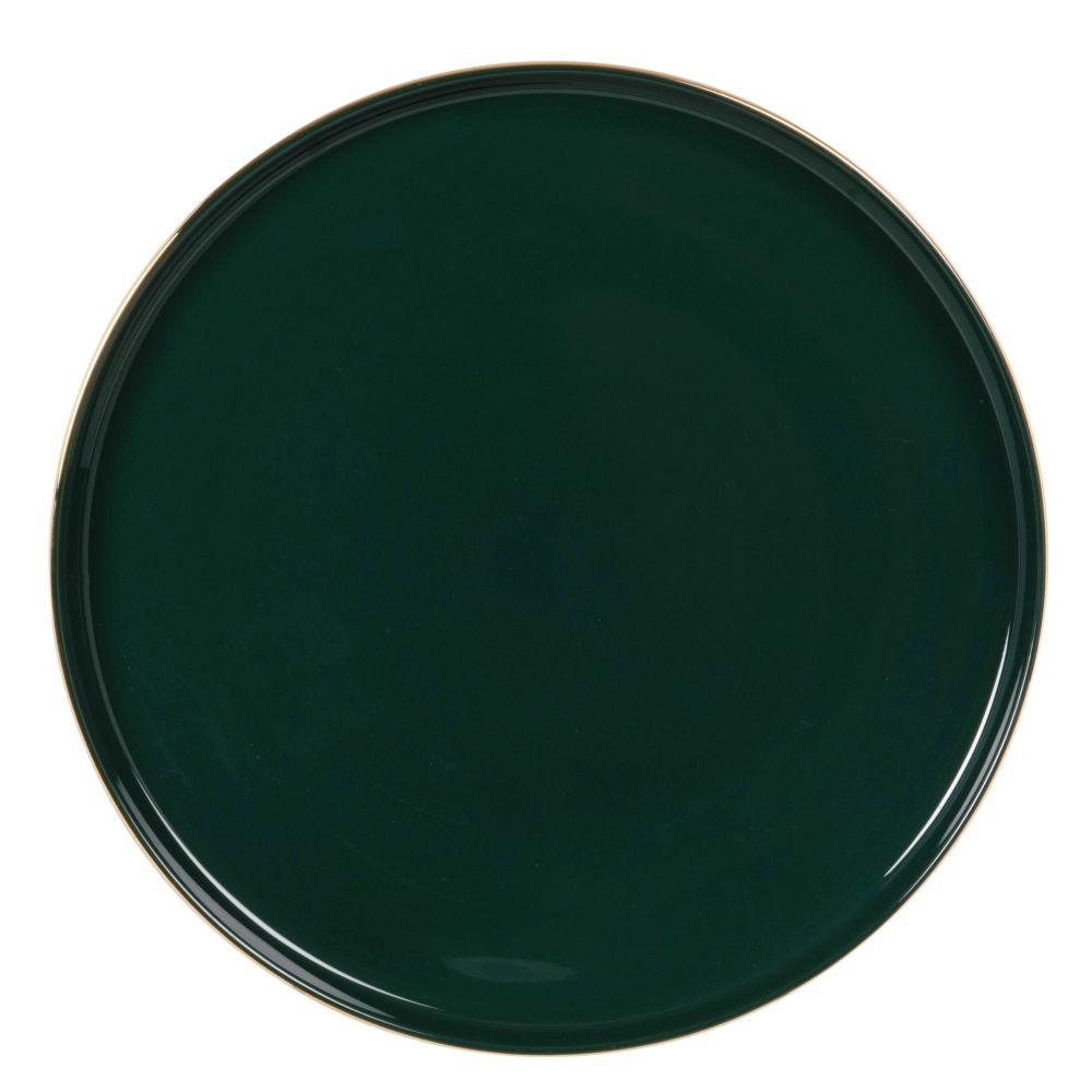 Assiette plate en porcelaine verte et dorée