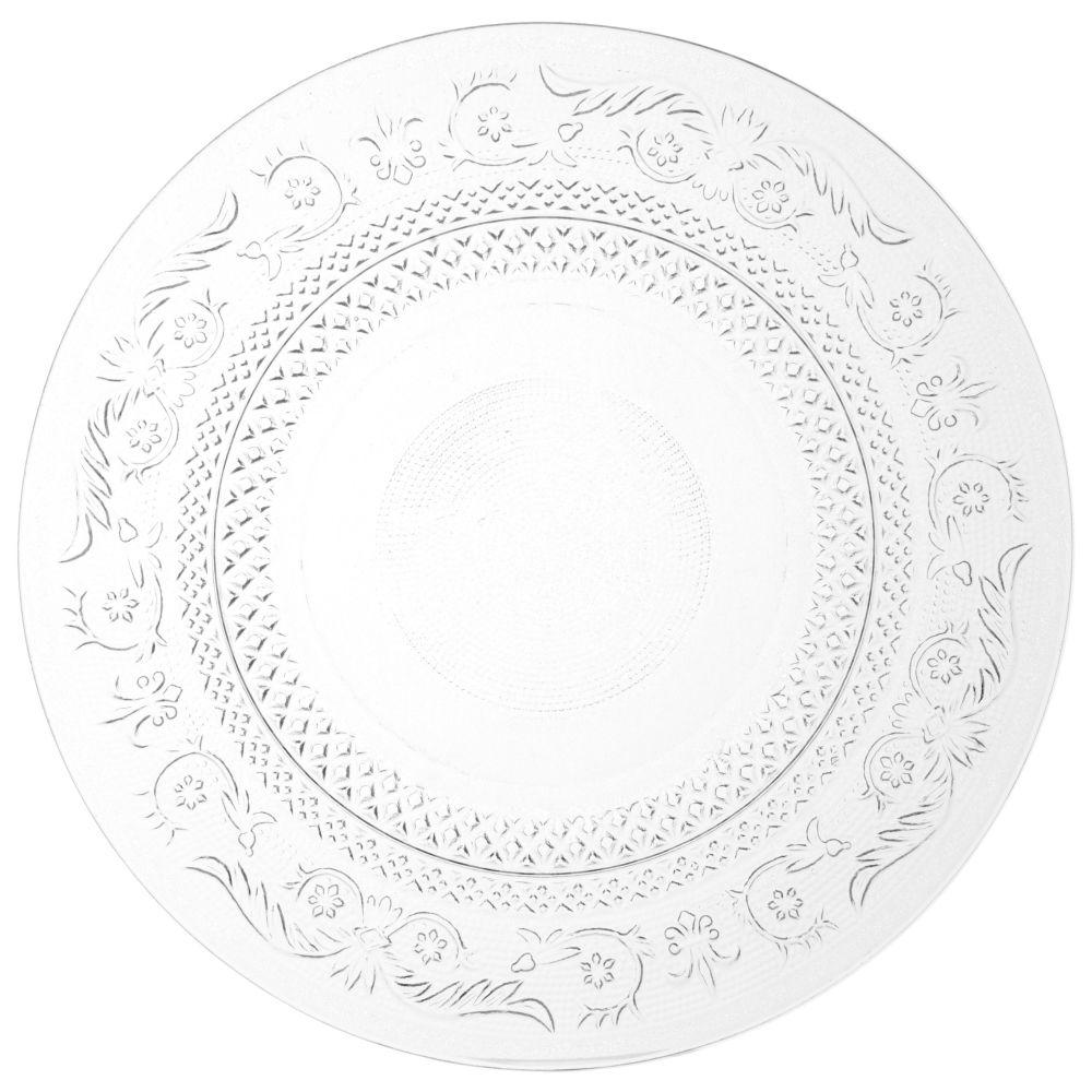 Assiette plate en verre D 25 cm