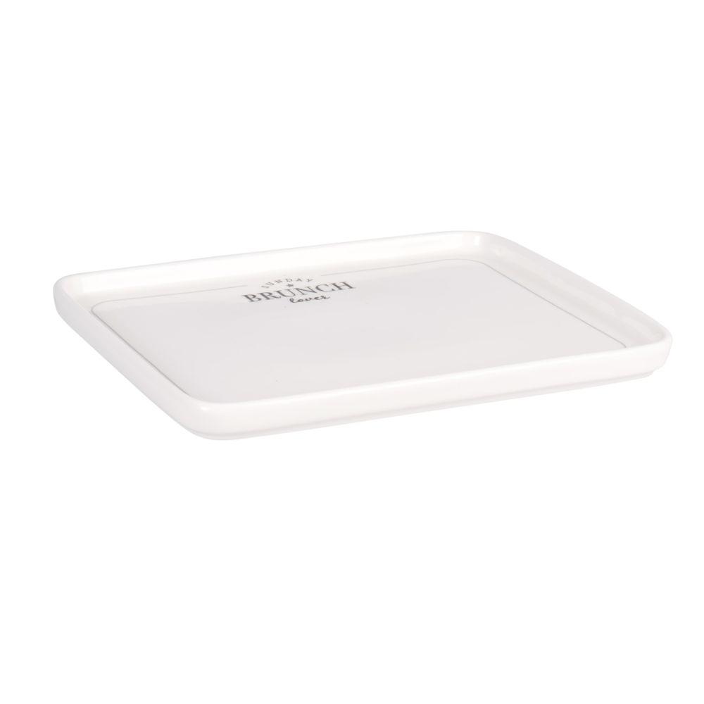 Assiette rectangulaire en porcelaine blanche imprimée