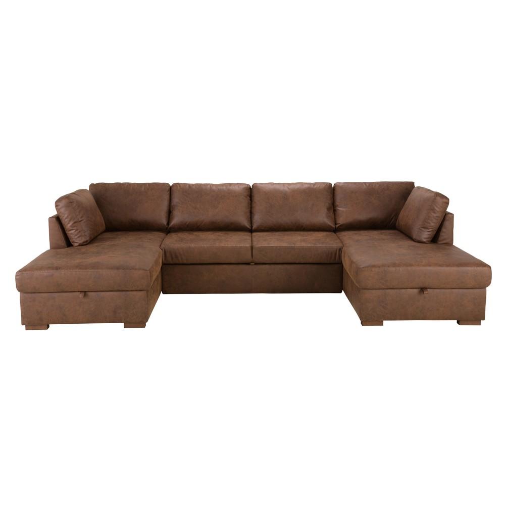 Ausziehbares 7-Sitzer-Panorama-Sofa mit braunem Microsuede-Bezug