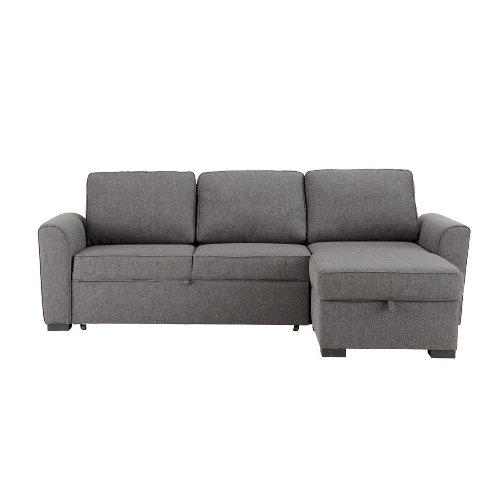 Ausziehbares Ecksofa 3-/4-Sitzer aus Stoff, grau