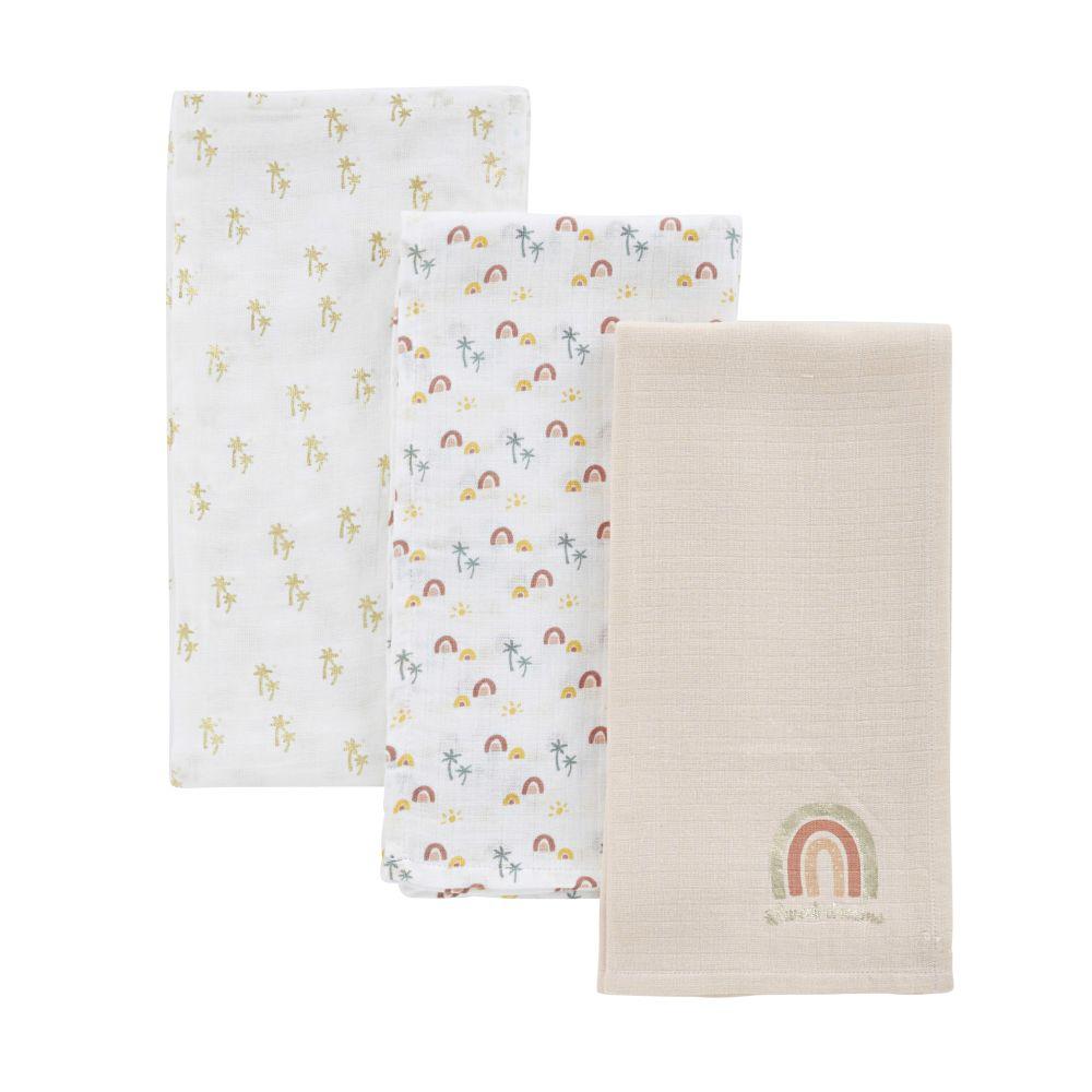 Baby-Wickeltücher aus bedruckter Baumwolle, bunt, Set aus 3