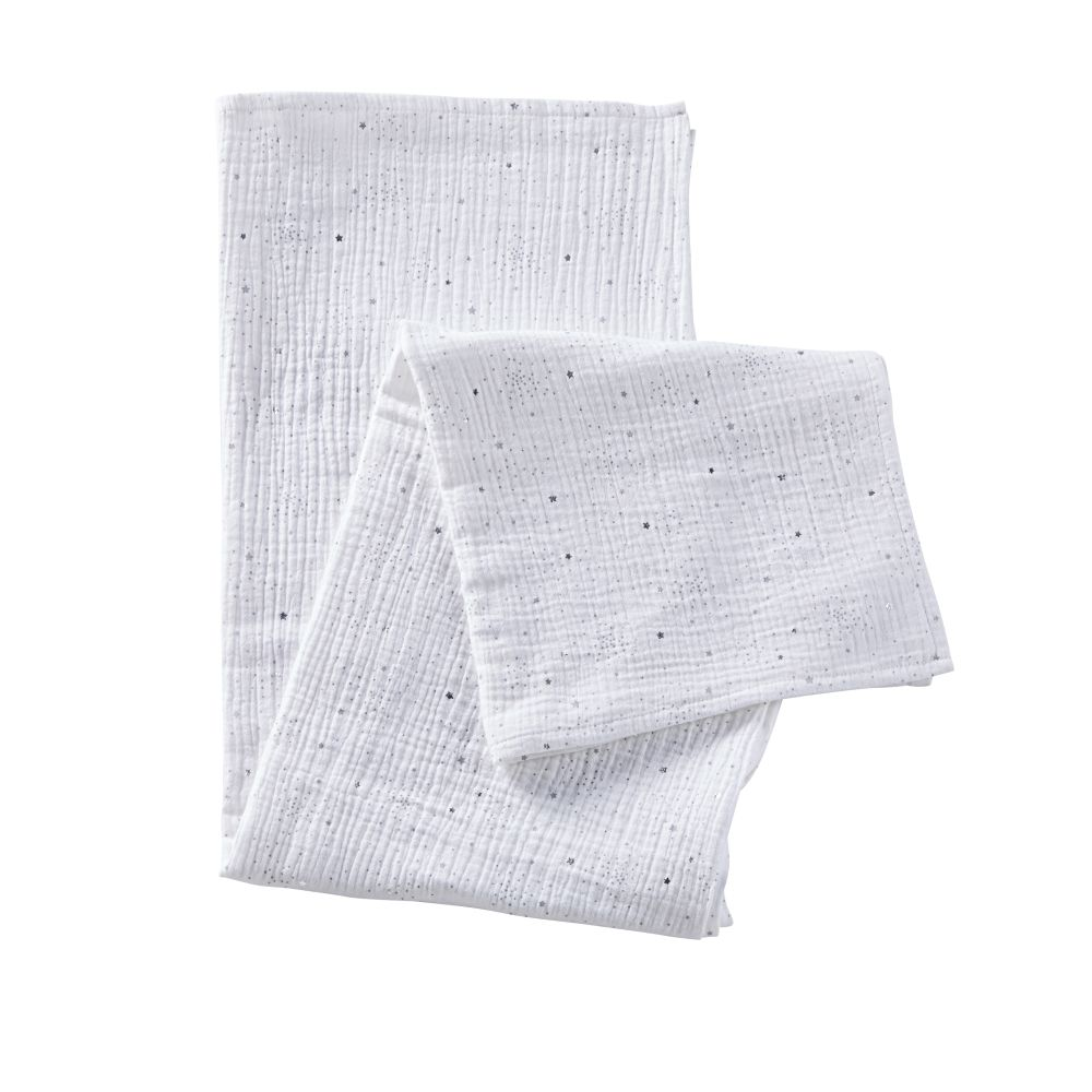 Babydoeken Van Wit Katoen Met Grijze En Gouden Sterren 120x120