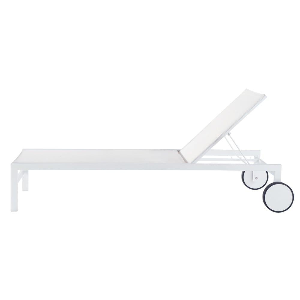 Bain de soleil à roulettes en aluminium blanc