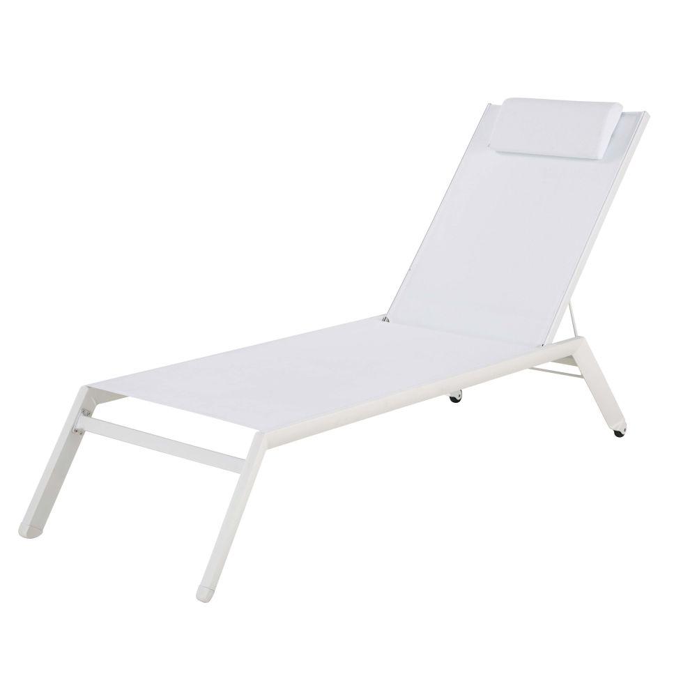 Bain de soleil en aluminium et toile plastifiée blanche