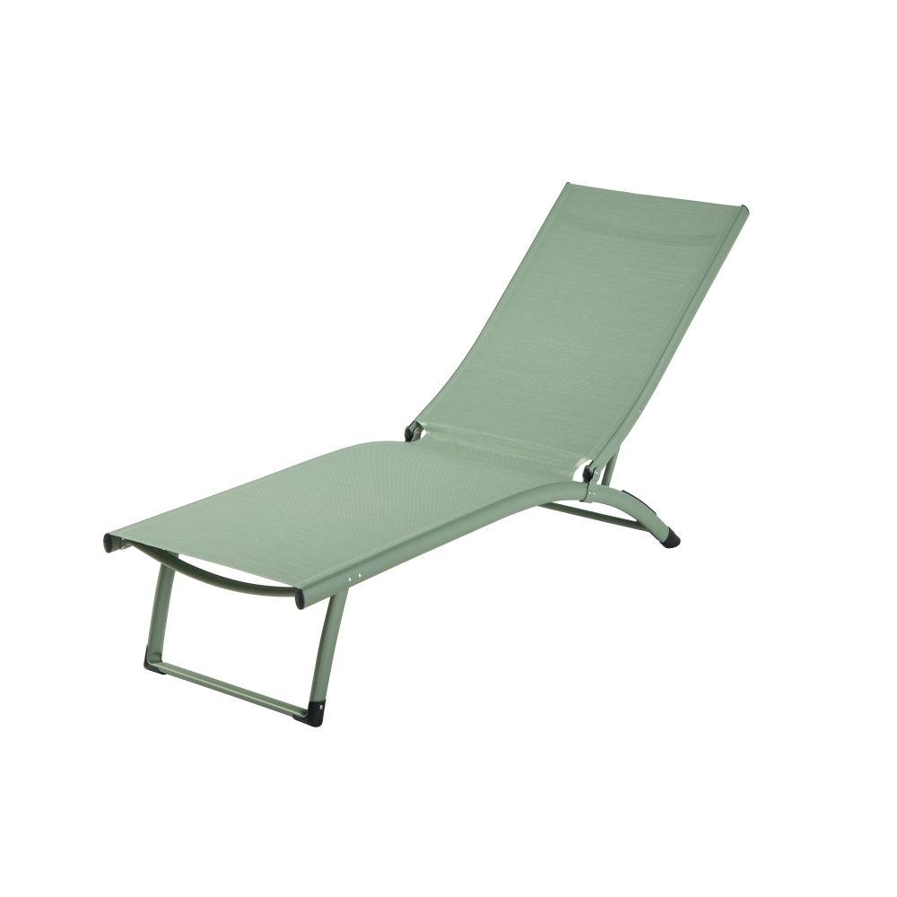 Bain de soleil en aluminium et toile plastifiée vert kaki (photo)