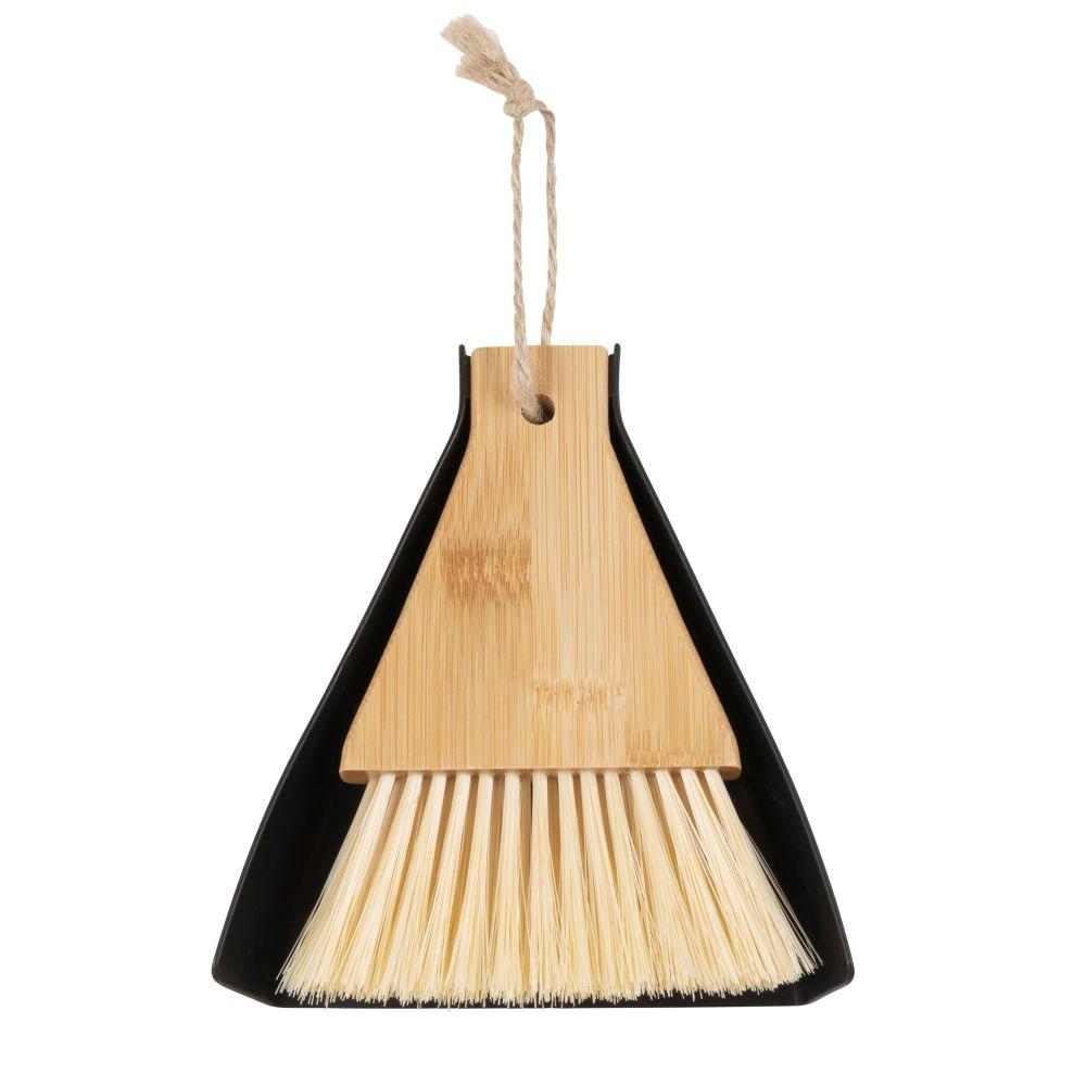 Balayette de table noire et pelle en bambou
