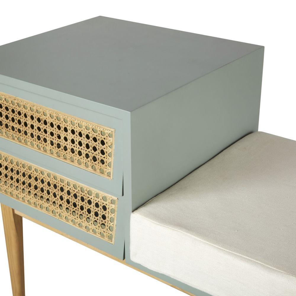 Banc d'entrée 2 tiroirs avec cannage en rotin gris bleu coussin en lin écru