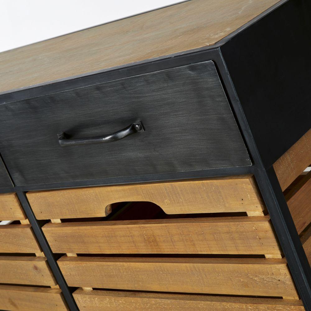 Banc d'entrée indus 4 tiroirs en pin, sapin et métal noir
